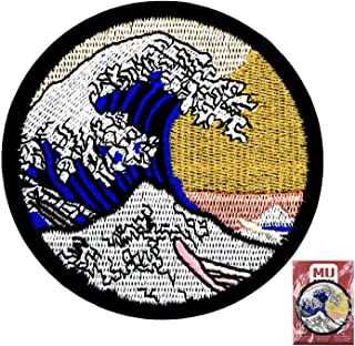 MUNAN sew on Patches Kanagawa Waves Patch Iron On Sewing Embroidered Patches Badge Applique for Clothes Jacket Jeans Cap