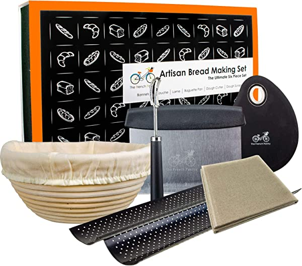Bread Baking Kit Gift Set 9 Banneton Bread Proofing Basket 2 Baguette Baking Pan Bread Lame 100 Flax Linen Couche Made In France Dough Scraper Dough Cutter