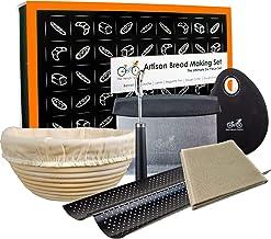 "Bread Baking Kit Gift Set   9"" Banneton Bread Proofing Basket   2 Baguette Baking Pan   Bread Lame   100% Flax Linen Couch..."