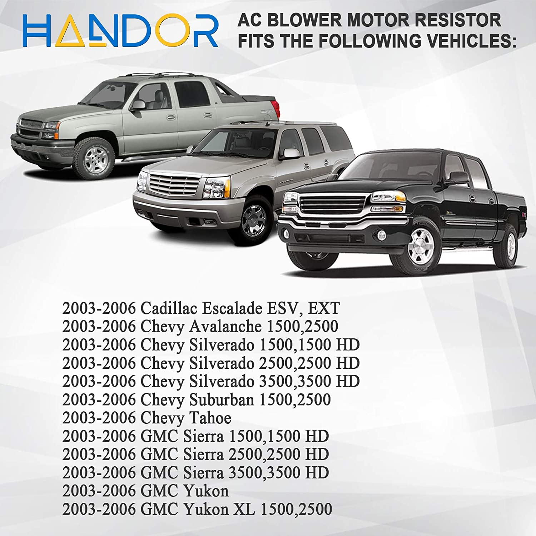 Handor HVAC Blower Motor Resistor Compatible with Cadillac Escalade ESV EXT Chevy Avalanche Silverado Suburban Avalanche Tahoe GMC Sierra Yukon 2003-2007 for AC Blower Fan Replacement # RU571 973-009