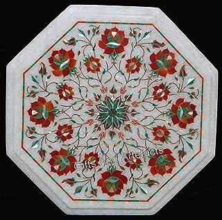 Gifts And Artefacts Mármol Blanco con Forma de octágono para Mesa de Oficina, Arte de marquetería con Piedras Preciosas de...