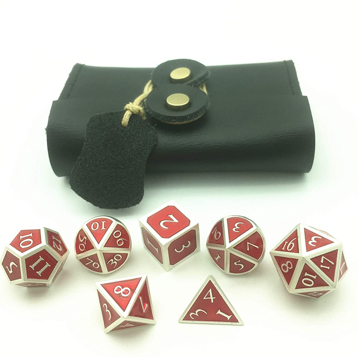 Momostar Solid Polyhedron Dice, Metallic Tweezers for DND RPG,Pearl Silver Color & Red Background.