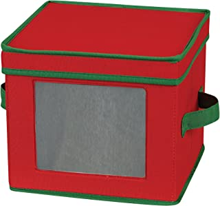 Household Essentials 534RED Holiday China Dinnerware Storage for Salad Plates or Bowls | Removable Lid | Red Canvas with Green Trim