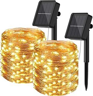 [Lot de 2] Guirlande Solaire Exterieur, Hepside 24M 240 LED Guirlande Lumineuse Exterieure Solaire8 Modes Étanche Fil de C...