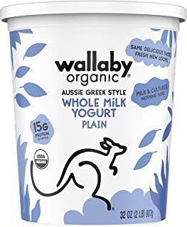Wallaby, Yogurt Greek Plain Organic, 32 Ounce