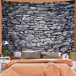 G.Will Gray Brick Wall Tapestry 3D Rustic Stone Marble Tapestry Vintage Country Tapestry Wall Hanging for Living Room Background