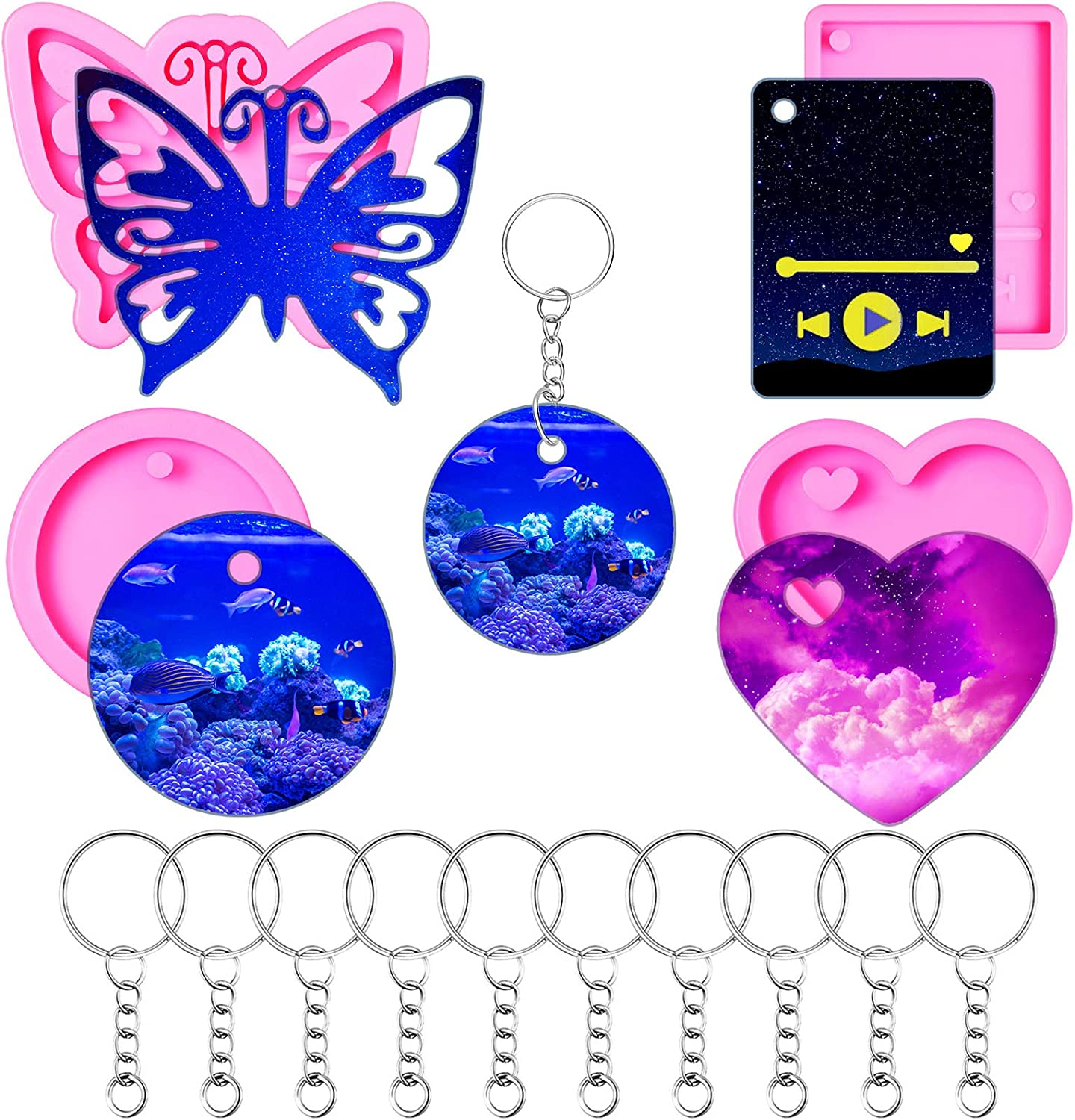 4 Pieces Silicone Keychain Pendant Discount San Diego Mall mail order Circle Including Heart Molds