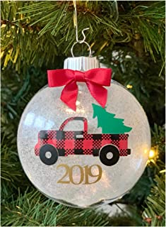 Stesha Threads Buffalo Plaid Christmas Truck Holiday Tree Decoration Hanging Ornament 2019