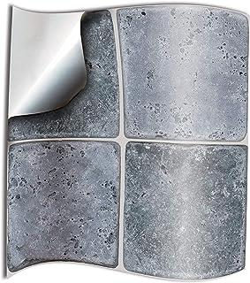 comprar comparacion 24x piedra gery Lámina impresa 2d PEGATINAS lisas para pegar sobre azulejos cuadrados de 15cm en cocina, baños – resistent...