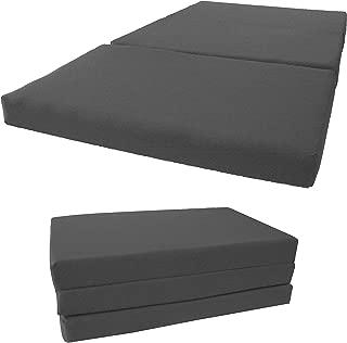D&D Futon Furniture Shikibuton Tri Fold Foam Beds, Tri-Fold Bed, High Density 1.8 lbs Foam, Twin Size, Full, Queen Folding Mattresses. (Full Size 4x54x75, Gray)