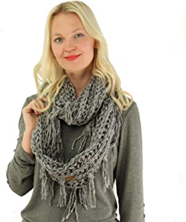 CC Soft Chenille Net Tassle Fringe Thick Knit Infinity Scarf Wrap Natural Gray