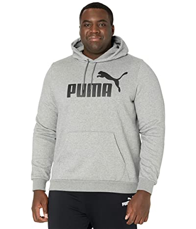 PUMA Big Tall Essential Hoodie Fleece Big Logo (Medium Gray Heather) Men