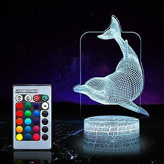 LUMBRILL 3D Dolphin Gifts Juguetes Decoración Luz Nocturna LED con mando a distancia, 16 colores RGB Lámpara de mesita de noche, brillo ajustable, regalo de cumpleaños