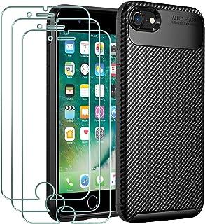ivoler Fodral till iPhone SE 2020/SE 2/iPhone 8/7 + 3-pack skärmskydd i härdat glas, kolfiberdesign stötdämpande stötskyd...