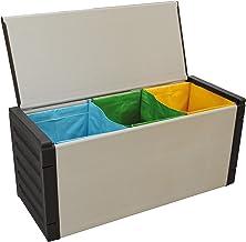 Adventa skrzynia do segregacji śmieci (wewnątrz i na zewnątrz), szara, czarna, 85 x 34 x 39,5