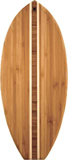 """Totally Bamboo Lil' Surfer Surfboard Shaped Bamboo Serving and Cutting Board, 14-1/2"""" x 6"""", Brown"""
