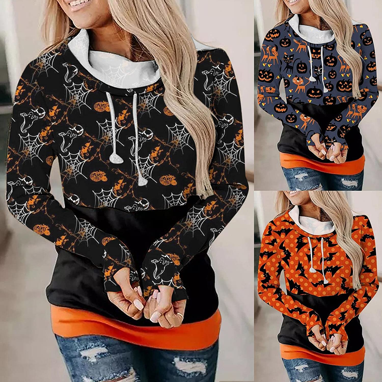 Fudule Halloween Shirts for Women Sweatshirt Funny Pumpkin Face Spider Web Print Hoodies Casual Long Sleeve Pullover Top
