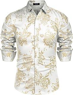 Men's Rose Shiny Shirt Luxury Flowered Printed Button Down Shirt