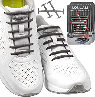 LONLAM No Tie Shoelaces Elastic Silicone Tieless Round for Stretch Sneakers Shoe Strings Laceless Adults Kids Bungee Rubber