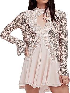 6eeea525ebc2e1 Free People Womens Lace Keyhole Babydoll Dress