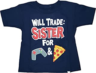 Gildan Boys Will Trade Sister for Games and Pizza Navy Graphic T-Shirt