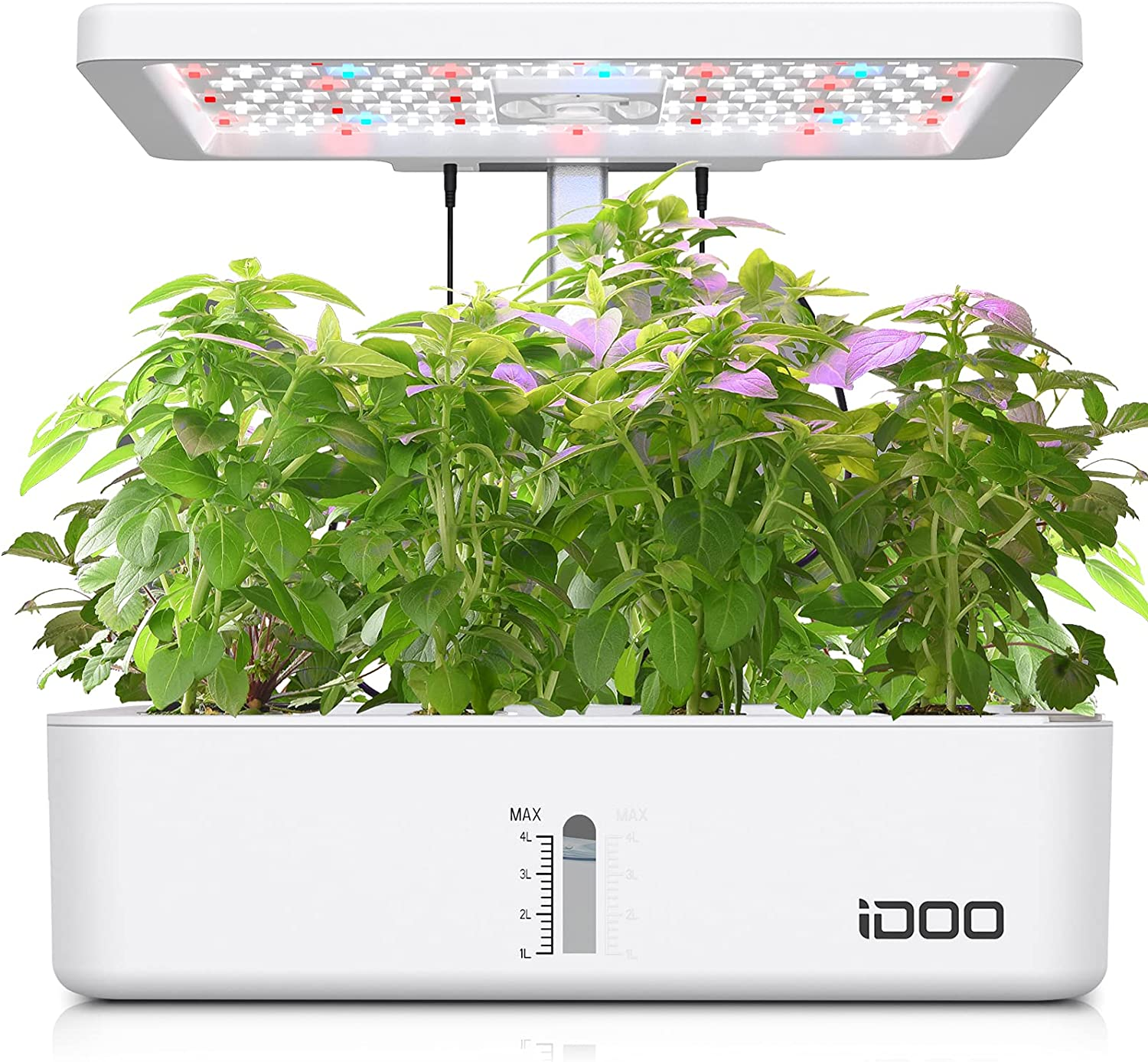 iDOO Indoor Herb Garden, 12Pods Hydroponics Growing System for Kitchen Countertop Bulit-in Fan, Plants Germination Kit with Grow Light, Automatic Timing, Up to 11.02