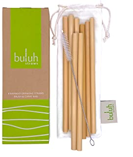 BULUH STRAWS - ORGANIC BAMBOO DRINKING STRAWS | REUSABLE | ECO FRIENDLY | BPA-FREE BIODEGRADABLE NATURAL ALTERNATIVE TO PLASTIC, GLASS AND STAINLESS STEEL | SET OF 8, CLEANING BRUSH AND CUSTOM BAG