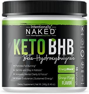 Keto BHB Salts Caffeine Free – Promotes Fat Burn - Energy, Pre Workout, Mental Clarity – Beta Hydroxybutyrate Exogenous Ketones Supplement - Formulated for Easy Ketosis – Orange Mango, 16 Servings