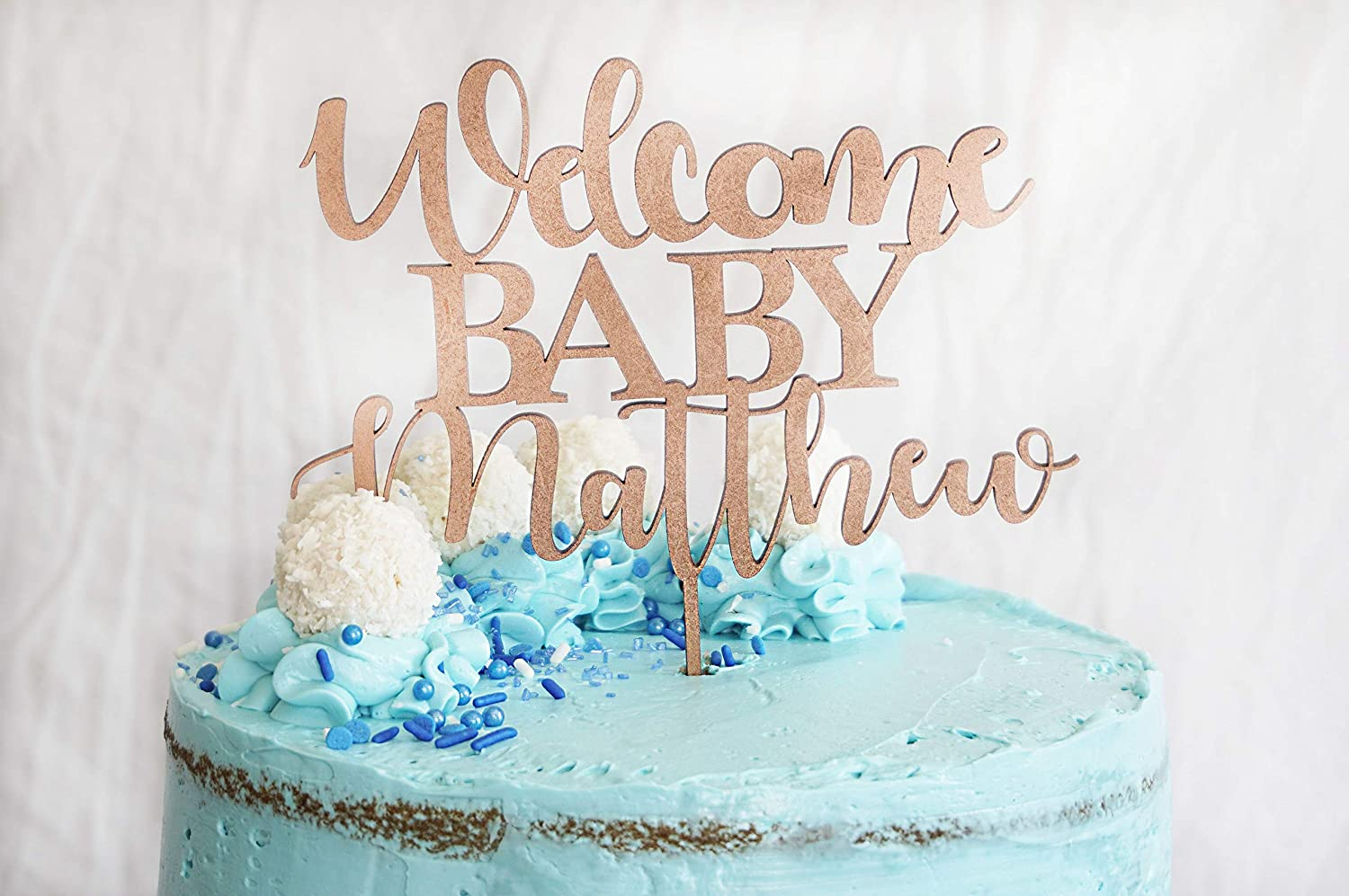 Personalized Baby Free Shipping New Spasm price Shower Cake Topper Name Welcome To