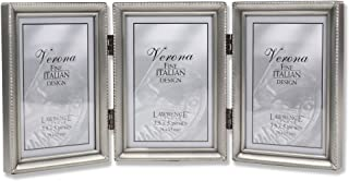 Lawrence Frames Antique Pewter Hinged Triple 3x5 Picture Frame - Beaded Edge Design