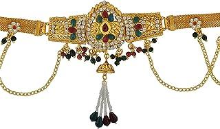 Memoir Brass Gold Plated, Pear Shape Design, CZ, Faux Kundan Ruby Stylish Kamarpatta, Waistbelt, Kamarbandh Women Traditio...