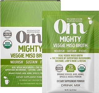 Om Organic Mushroom Nutrition Superfood Protein Drink Mix, Mighty Veggie Miso Broth, 5.29 Ounce (10 Packets), Shiitake, Li...