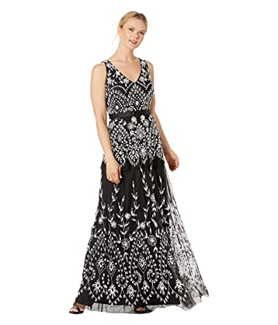 Adrianna Papell Beaded Mesh V-Neck Gown with Tiered Skirt (Black/Ivory) Women