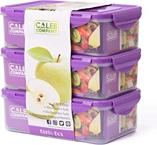 Purple Bento Lunch Box – 3 Boxes for Kids and Toddlers – 39 oz - Bento Box – Removable Compartment Food Containers – BPA Free – Ideal Baby Snack Container – Child Friendly Snap Lock Lids – Leakproof