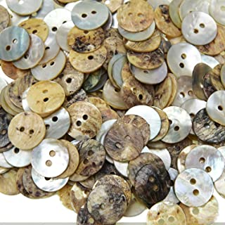 Pomeat 200 Pcs 12.5mm Natural Shell Mother of Pearl Craft Buttons 2 Hole Shell Shirt Buttons for Sewing DIY Crafts