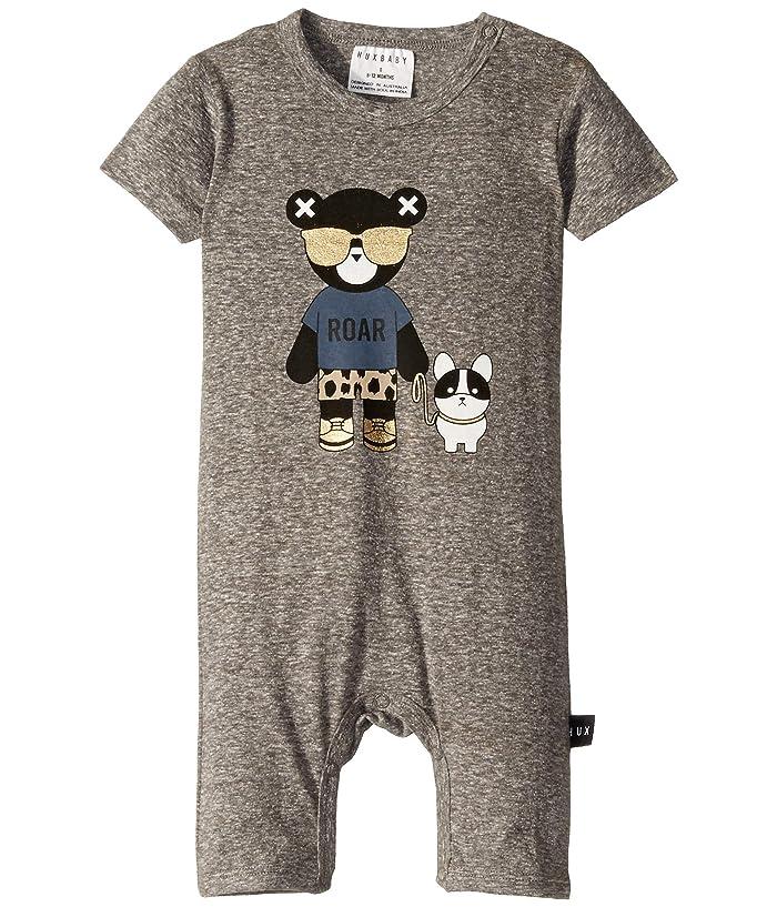 HUXBABY Hux Bulldog Short Romper (Infant) (Charcoal Slub) Kid