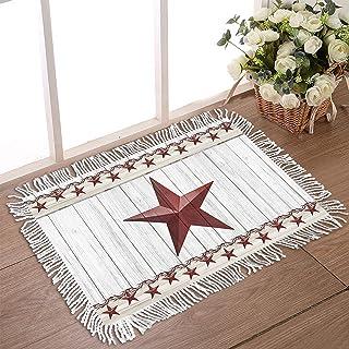 """DecorLovee Doormat for Outdoor Entrance 18""""x30"""" Non Slip Rubber Back Tassel Front Door Rugs for Indoor 3D Red Pentagram St..."""