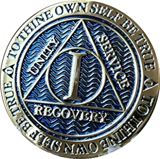 1 Year AA Medallion Dusty Blue Color Gold Plated Chip