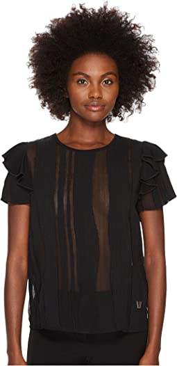 Sheer Paneled Flutter Cap Sleeve Top