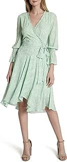 Women's Long Sleeve Smocked Surplus Wrap Dress