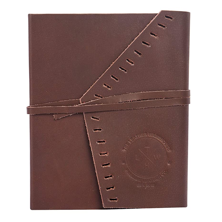 The Leather Warehouse Handcraft Leather Journal with Unlined Paper, 150 Sheets, Vintage, 6.5 x 5