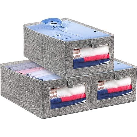 LEADSTAR Boites Rangement Pliables en Vetement,Caisse de Rangement en Tissu avec Fenêtre Transparente pour Vêtements, Livres, Jouets, Maison (Lot de 3)
