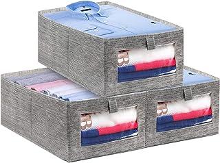 LEADSTAR Boites Rangement Pliables en Vetement,Caisse de Rangement en Tissu avec Fenêtre Transparente pour Vêtements, Livr...