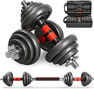 LEADNOVO Cast Iron Adjustable Dumbbells Set Hand Weight with Solid Dumbbell Handles Changed into Barbell, UP to 20kg Free ...