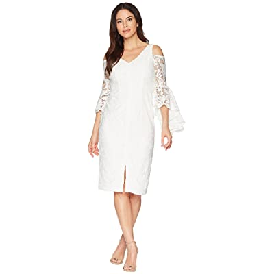 Maggy London Breezy Leaf Lace Cold Shoulder Sheath Dress with Ruffle Sleeve (White) Women
