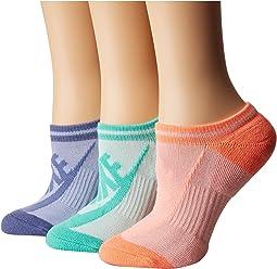 Nike Sportswear Striped No Show 3-Pair Socks