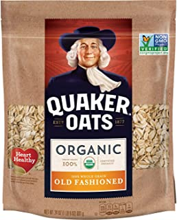 Quaker Old Fashioned Rolled Oats, USDA Organic, Non GMO Project Verified, 24oz Resealable Bags (Pack of 4)