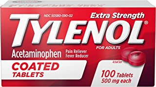 Tylenol Extra Strength Coated Tablets, Acetaminophen Adult Pain Relief & Fever Reducer, 100 ct