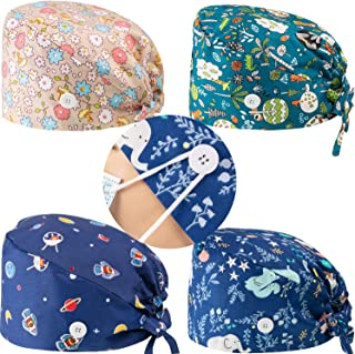 4 Pieces Scrub Cap with Button Printed Adjustable Bouffant Cap Unisex Scrub Hat Hair Cover