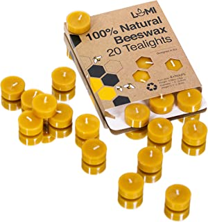 100% Pure Beeswax Candles - 20PC Organic Candles Non Toxic - Fill Your Home With the Warm Glow of Natural Beeswax Tealight Candles - Makes the Perfect Gift